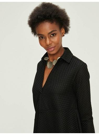 Xint Eteği Asimetrik Mini Elbise Siyah